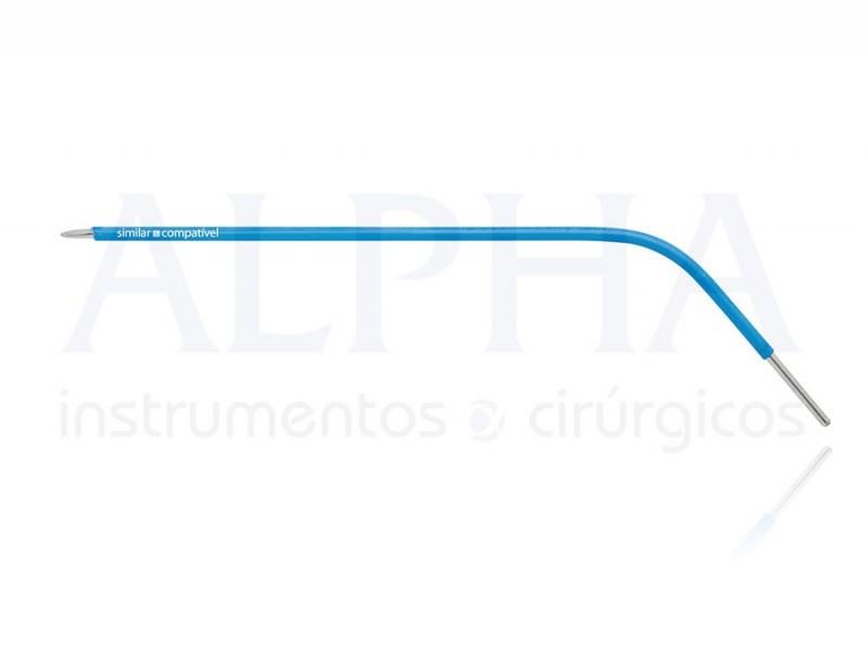 Eletrodo para otorrino ponta agulha romba curva direita - Corpo ø 1,60mm x 120mm